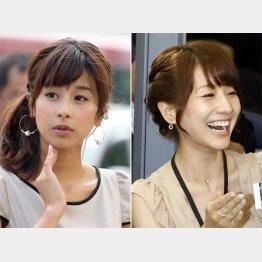 カトパン(左)とみな実アナ/(C)日刊ゲンダイ
