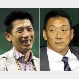 将来の監督候補といわれる金本(右)と矢野/(C)日刊ゲンダイ