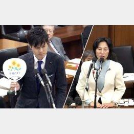 質問に立った民主党 柚木道義議員(左)