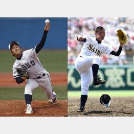 島袋(左)と安楽/(C)日刊ゲンダイ