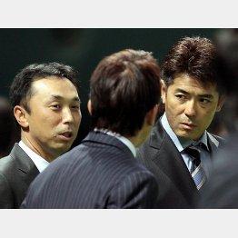 宮本、古田(後ろ姿)、稲葉の3氏/(C)日刊ゲンダイ