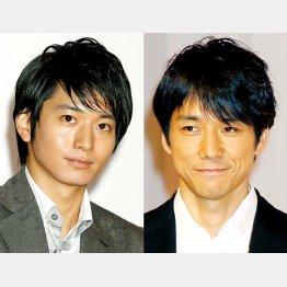 向井理(左)と西島秀俊/(C)日刊ゲンダイ