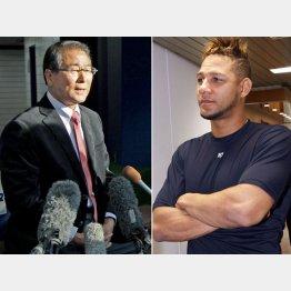 会見で発表する高田GMとグリエル