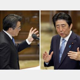 党首討論での岡田代表と安倍首相