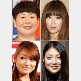 左上から時計回りに、大島美幸、絢香、後藤理沙、仁科仁美
