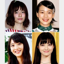 左上から時計回りに、島崎遙香、能年玲奈、橋本環奈、佐々木希