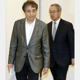 安藤氏と共に会見を行った河野JSC理事長(右)