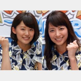 日本テレビの尾崎里紗アナ(左)と笹崎里菜アナ