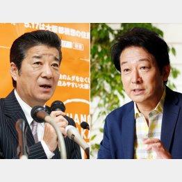 松井大阪府知事と辰巳琢郎