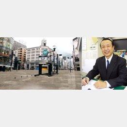 国交省作成の冠水した銀座のイメージ(左)と土屋信行氏