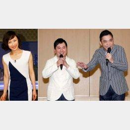 山口もえ(左)との結婚を発表する爆笑問題の田中(右は太田)