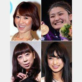 青森出身の女性有名人(左から時計回りで新山千春、伊調馨、藤川優里市議、水谷ケイ)