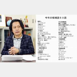 「現代用語の基礎知識」編集長の清水均氏(右は今年の候補語50語)