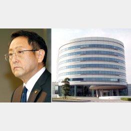 豊田章男トヨタ自動車社長(左)とアイシン・エィ・ダブリュ本社
