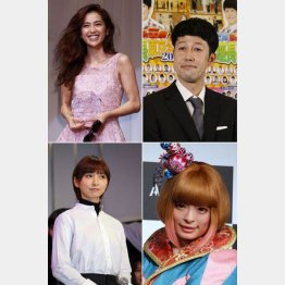 左上から時計回りに中村アン、小籔千豊、きゃりーぱみゅぱみゅ、篠田麻里子