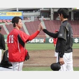 阪神藤浪(右)はマエケンに弟子入り