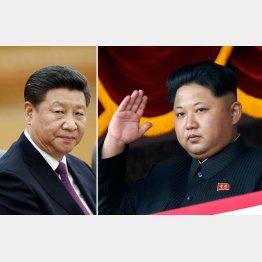 習近平国家主席(左)と金正恩