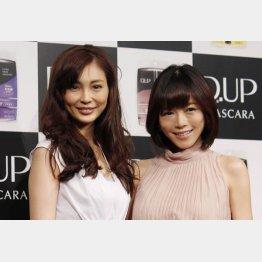 押切もえ(左)と現在妊娠5カ月の釈由美子