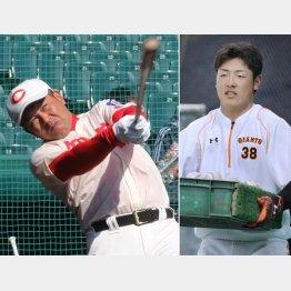 ノックをする小坂監督(左)と岡本