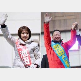 野党統一・池田候補(左)と自民・和田候補