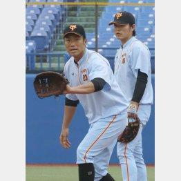 一塁の練習をする相川