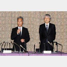 全日本スキー連盟の古川年正専務理事(左)と髙山崇彦理事