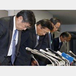 手前から益子会長と相川社長