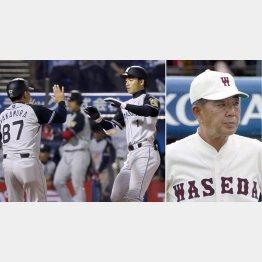 この日本塁打を打った鳥谷(右)と野村徹・元早大監督