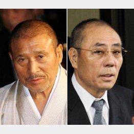 山口組6代目の司忍組長(左)と神戸山口組の井上邦雄組長(C)日刊ゲンダイ