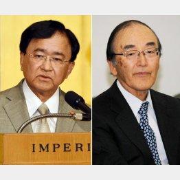 同友会の小林喜光代表幹事(左)と日商の三村明夫会頭