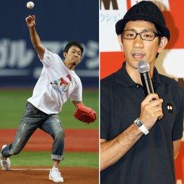 前代未聞の始球式謝罪をしたファンキー加藤(右はアンタッチャブル・柴田)