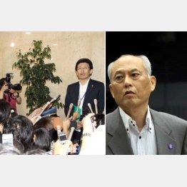 舛添都知事(右)の辞表が届けられた経緯を説明する議事部長の新見氏