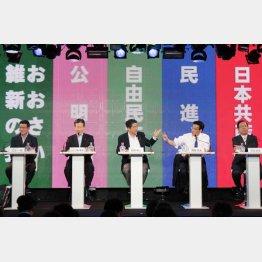 安倍首相の思うツボ(写真は9党党首ネット討論会)