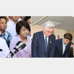 落選した島尻沖縄北方担当相(左)と岩城法相