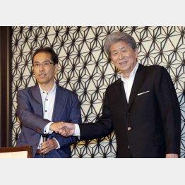 古賀茂明氏(左)と鳥越俊太郎氏