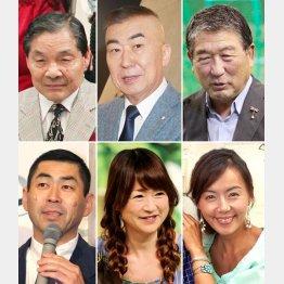 左から笑福亭仁鶴と桂南光、桂三枝と山瀬まみ、徳光和夫と田中律子