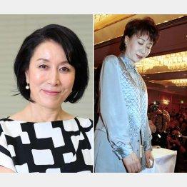 高畑淳子(左)と98年、次男の覚醒剤逮捕で会見する三田佳子/(C)日刊ゲンダイ