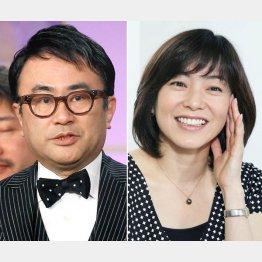 三谷幸喜(左)と小野お通役の八木亜希子