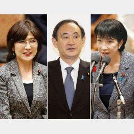 左から稲田防衛相、菅官房長官、高市総務相
