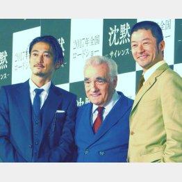 左から窪塚洋介、スコセッシ監督、浅野忠信