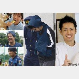 送検された藤坂容疑者(右)と先に逮捕された千葉大医学部5年の3容疑者(左上~下・いずれもHPから)