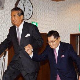 亀井議員(右)に支えてもらう慎太郎氏