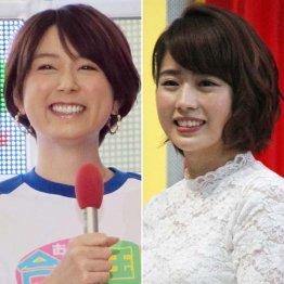 フジ・秋元優里アナ(左)とテレ朝・田中萌アナ