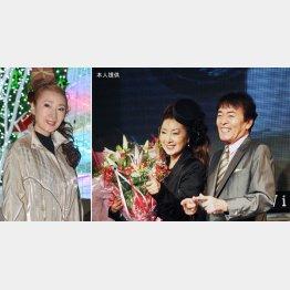 右写真=安倍里葎子さんと平尾昌晃さん