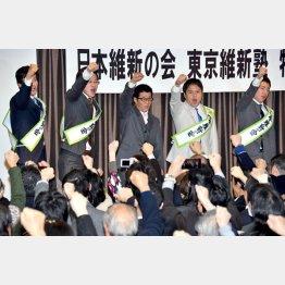 公認候補内定者と気勢を上げた松井府知事(中央)