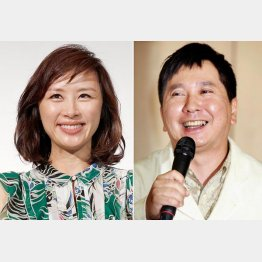 妊娠を発表した山口もえ(左)と田中裕二