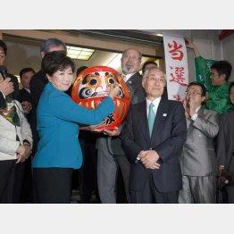 だるまに目を入れ、「主役は私」と言わんばかりの小池都知事と当選した石川区長(右)